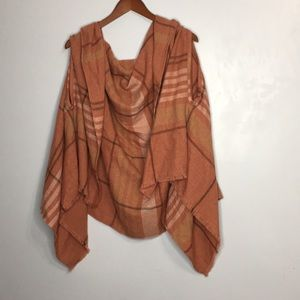 Carve Designs plaid raw hem draping vest
